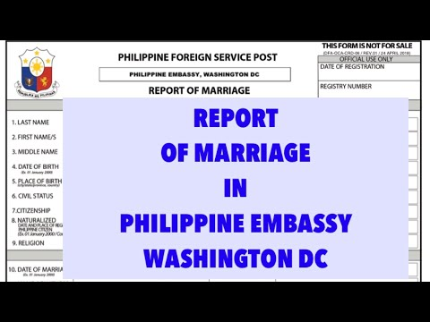 (ROM) REPORT OF MARRIAGE | ROM In Philippine Embassy Washington DC