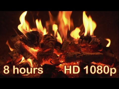 8 HOURS  Best Fireplace HD 1080p video  Relaxing fireplace sound  Christmas Fireplace  Full HD