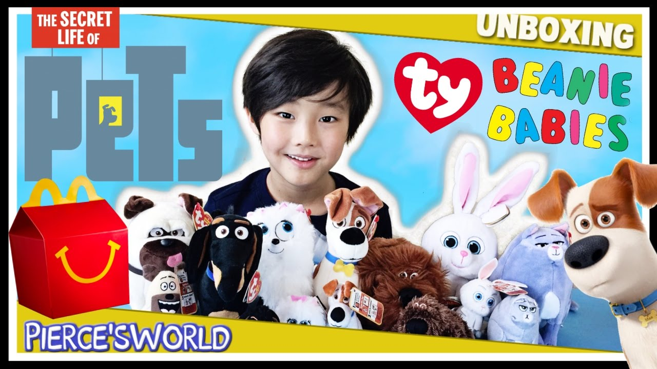 5187df834f6 Secret Life of Pets McDonald s Happy Meal Toys   TY Beanie Babies -  Pierce sWorld - YouTube