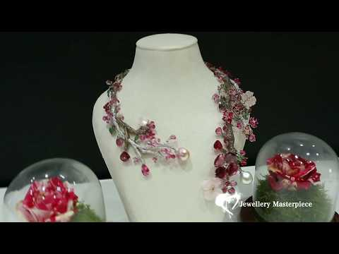 Sakura necklace by Hairaat at the Doha Jewellery and Watches Exhibition 2017