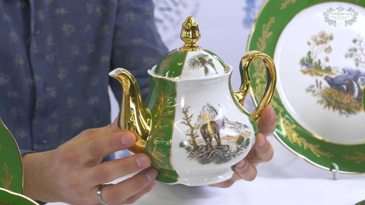 Посуда из белого фарфора Мэри-Энн (Mary-Anne) Охотничьи сюжеты .
