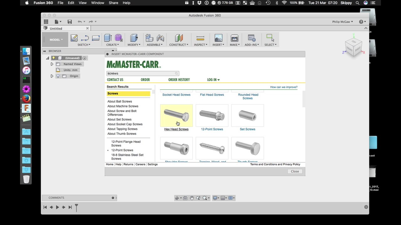 Bolts and other fastenings in Autodesk Fusion 360