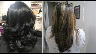 BALAYAGE HIGHLIGHTS ON BLACK HAIR | HAIR COLOR TUTORIAL