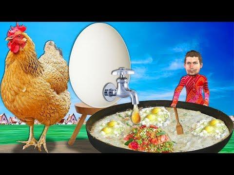 Giant Chicken Egg Omelette Funny Comedy Video   Hindi Kahaniya