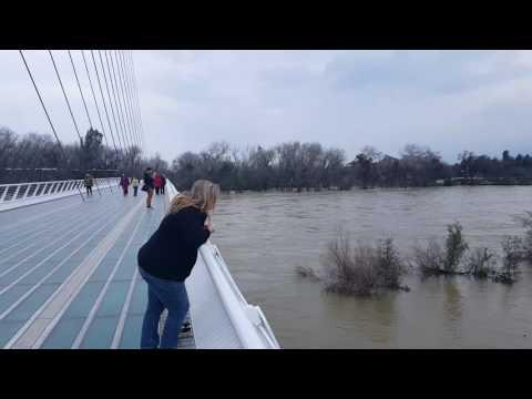 Massive Flooding at Sundial Bridge from Shasta Dam Releases