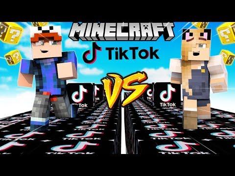 SZALONY WYŚCIG! - TIK TOK LUCKY BLOCKI MINECRAFT! (Lucky Block Race)   Vito vs Bella