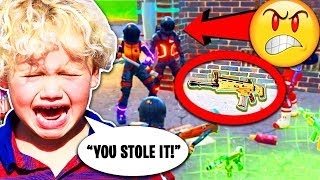 Troll STEALS Legendary Scar from Little Kid! 😭 (Fortnite Funny Trolling Moments)