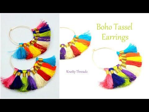 Silk Thread Jewelry | Making of Multi Coloured BOHO Tassel Hoops Earrings | www.knottythreadz.com