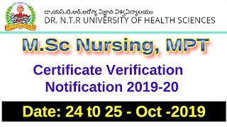 Dr NTR University MSc Nursing MPT Counselling Notification 2019|