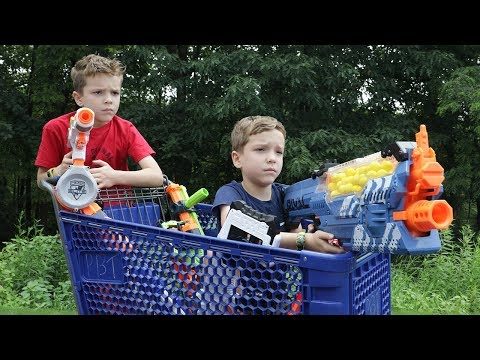 Nerf War:  Fortnite Shopping Cart Battles