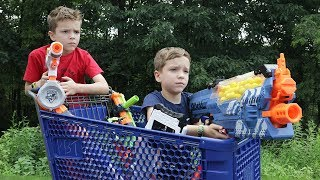 Nerf War:  Fortnite Shopping Cart Battles