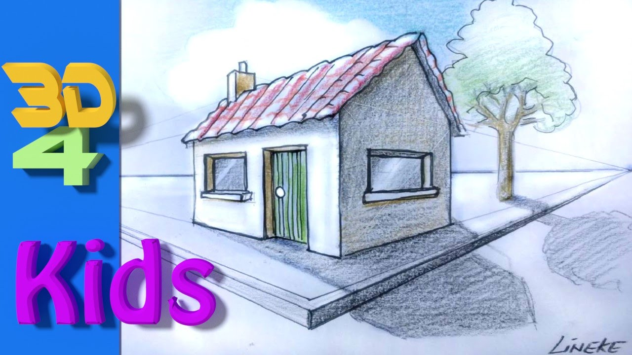 Easy 3d Drawing Draw HOUSE 2 Point Perspective For Kids And Beginners    YouTube