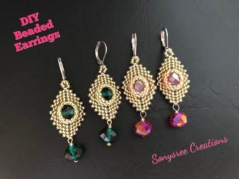 Party Wear Beaded Earrings. Peyote & Herringbone stitch.DIY jewelry.Intermediate level 💞