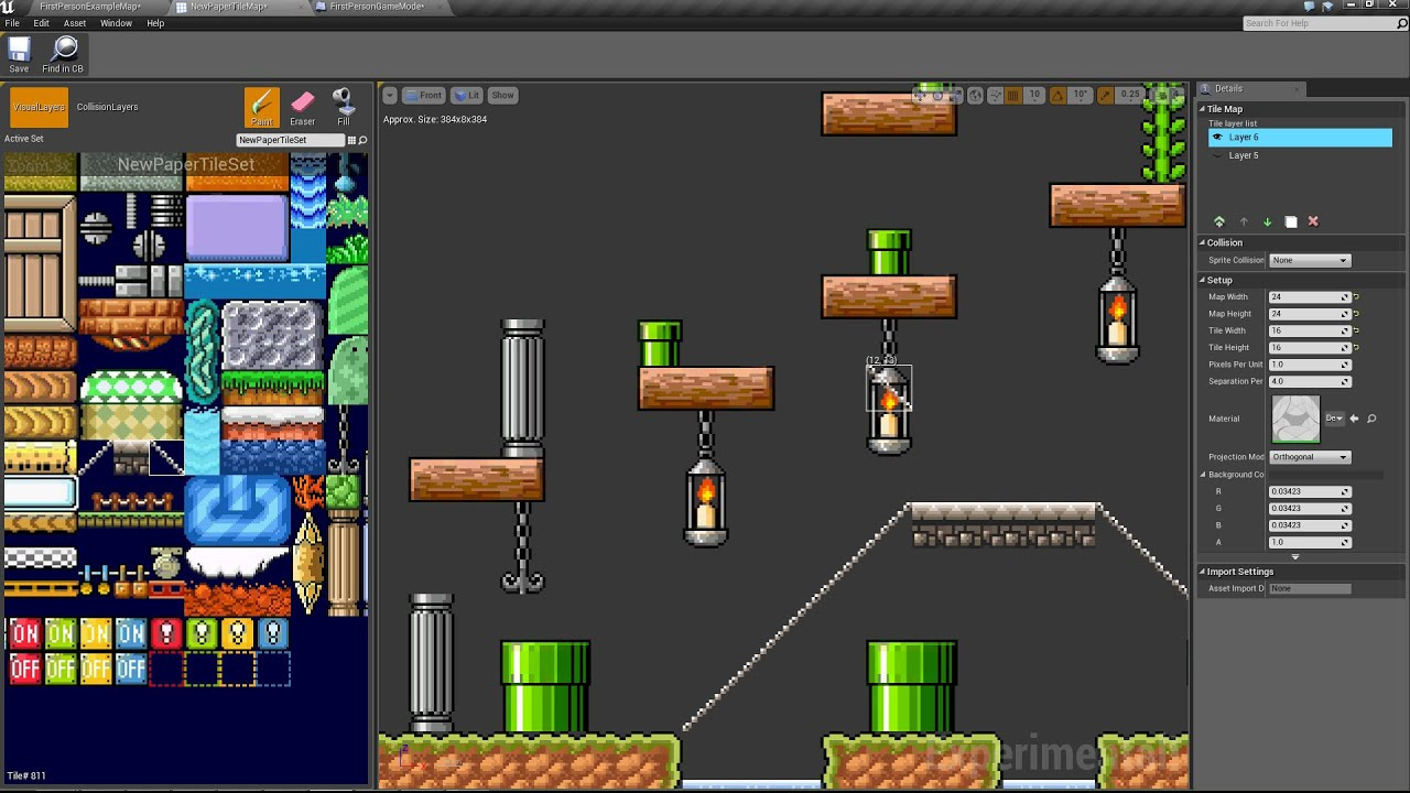 Unreal Engine 4 7 Paper 2d Creating And Editing Tilemaps Youtube