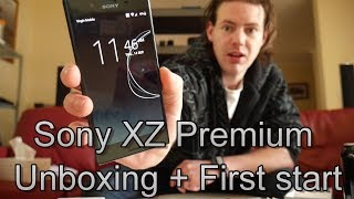 Sony Xperia XZ Premium Unboxing + First start
