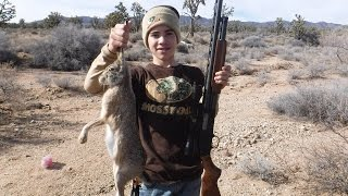 Rabbit Hunt: Boy Hunting Rabbits with A 12 Gauge Shotgun During Winter Season