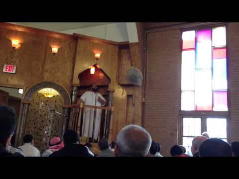 Friday prayer service in the ICCI mosque, Chicago, IL.