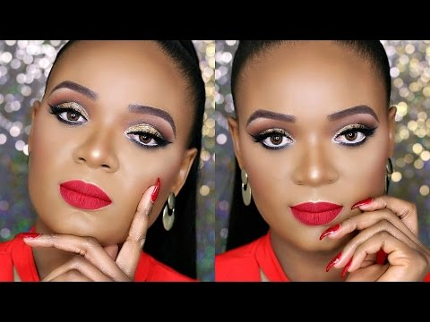 AFFORDABLE DRUGSTORE HOLIDAY MAKEUP TUTORIAL – GLITTER EYES & RED LIP