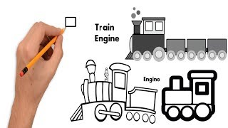 How To Draw Train (Engine) - Teach Drawing For Kids , Youtube Videos For Kids