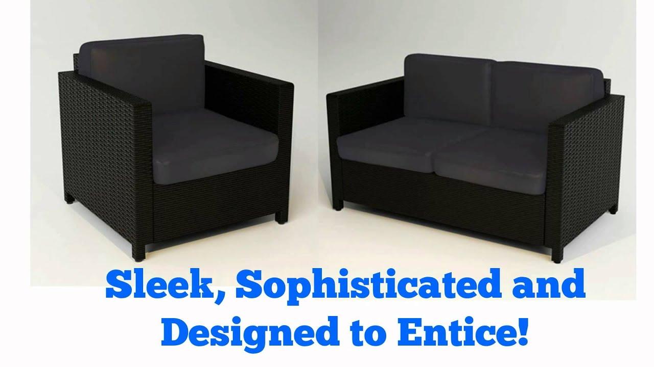 luxo bali 4 pc wicker outdoor furniture set black youtube rh youtube com luxo outdoor furniture luxor outdoor furniture
