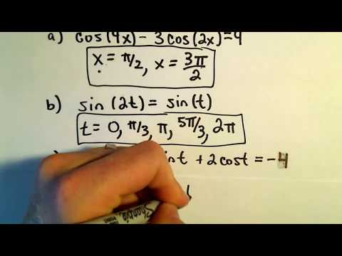Using Double Angle Identities to Solve Equations, Example 3