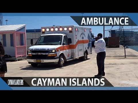 Cayman Islands EMS ambulance responding to Grand Harbour in Georgetown in Grand Cayman
