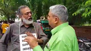 Indian Scientists March for Science listen to Prabir Purkayastha of the Delhi Science Forum