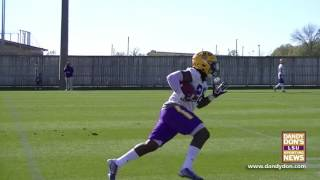 LSU Spring Practice 2 - Fiery Matt Canada & Short Passing Routes to Backs