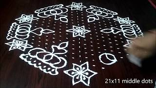 How to draw beautiful flowers designs for sankranthi 2019 | easy,simple kolam | rangoli
