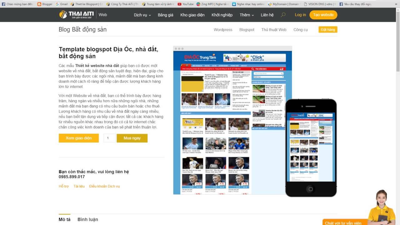 Thái aiti web – thiết kế Template blogspot Địa Ốc, nhà đất, bất động sản