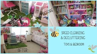 Speed Cleaning & Decluttering Girls Bedroom | Toys & Bedroom