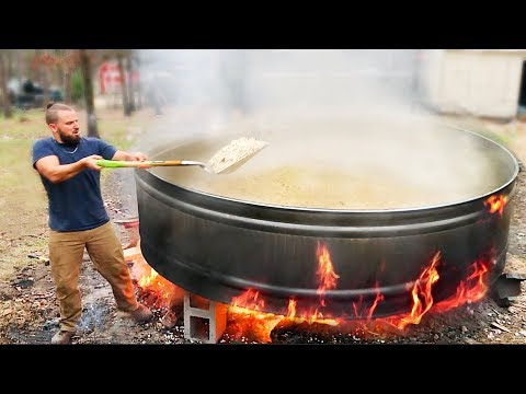 Popping 100 Pounds of Popcorn in 700 Gallon Tank Over Bonfire!