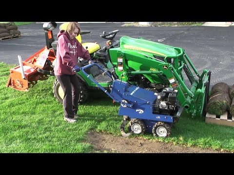 Bury Some Dirt - Bluebird Sod Cutter; Lawn Work  John Deere 1025R Part 1