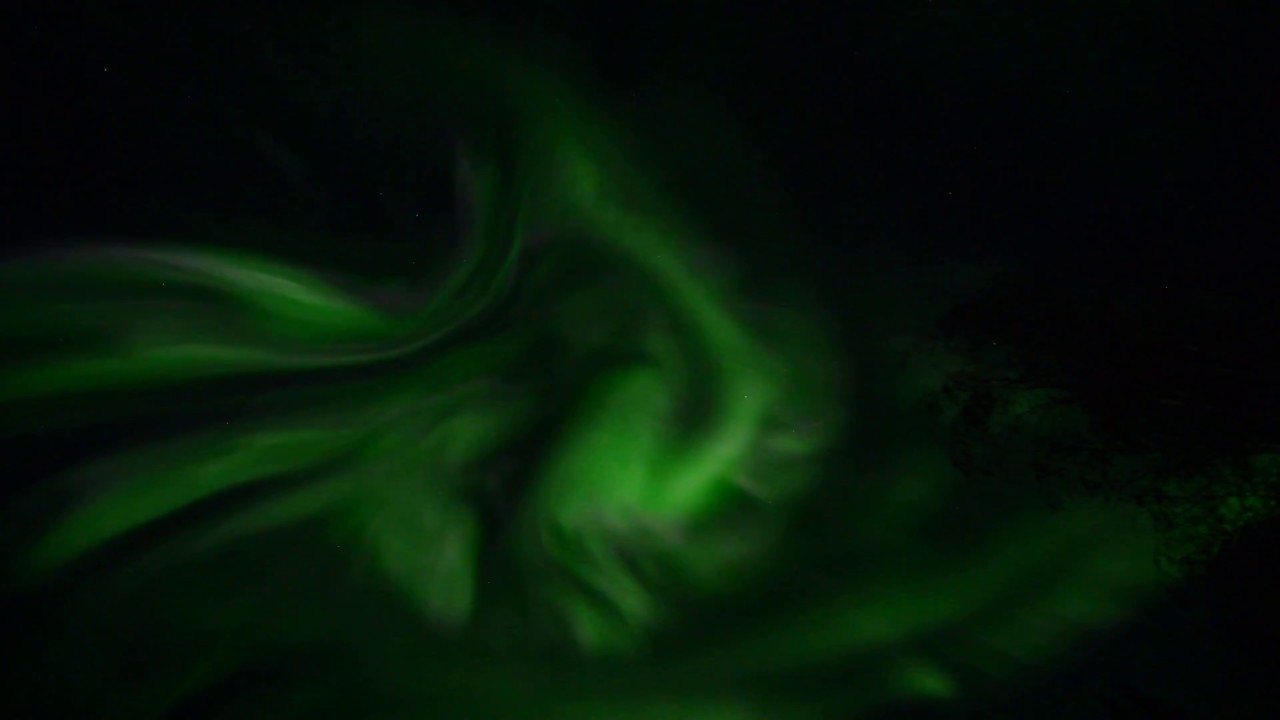 Aurora Borealis over North Pole, Alaska in real time