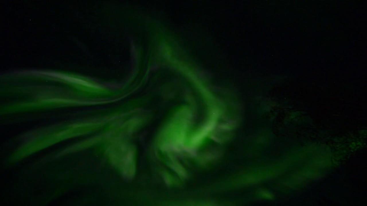 Aurora Borealis over North Pole, Alaska in real time