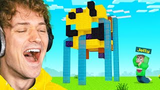 DESTROYING Jelly's GIANT STATUE In Minecraft! (Bee Town)