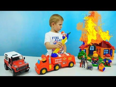 Мультики про машинки игрушки. Пожарная станция, полицейская тачка