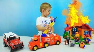 ПОЖАРНАЯ МАШИНКА KIDDIELAND - Пожрный Даник тушит огонь - Развивающие игрушки