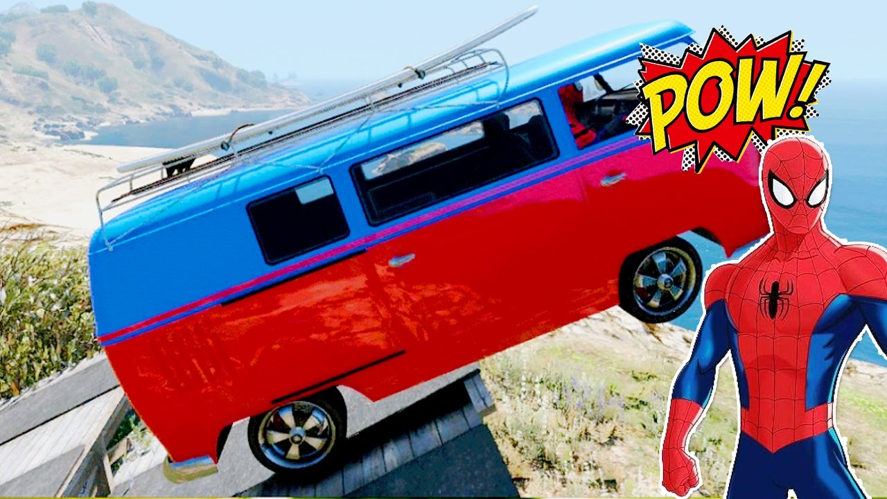 Colors Car Trailer And Tank With Spiderman Cartoon For Kids And ...