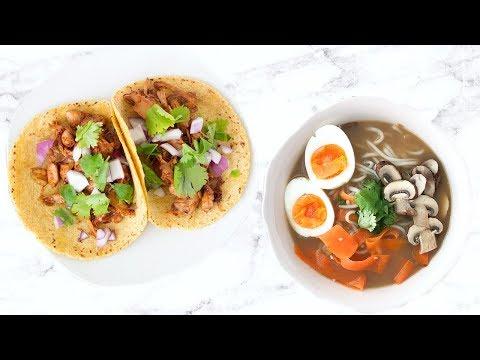 3 HEALTHY DINNER RECIPES! EASY DINNER IDEAS! RAMEN, VEGAN TACOS & MORE!