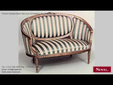 French Antique Salon Set Louis XVI Seating and Chairs for