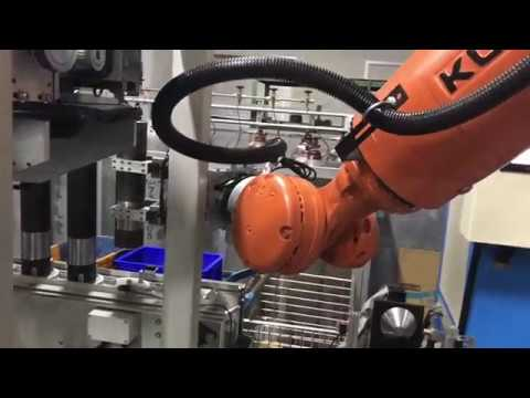 Welding of cylinder parts with a KUKA robot.