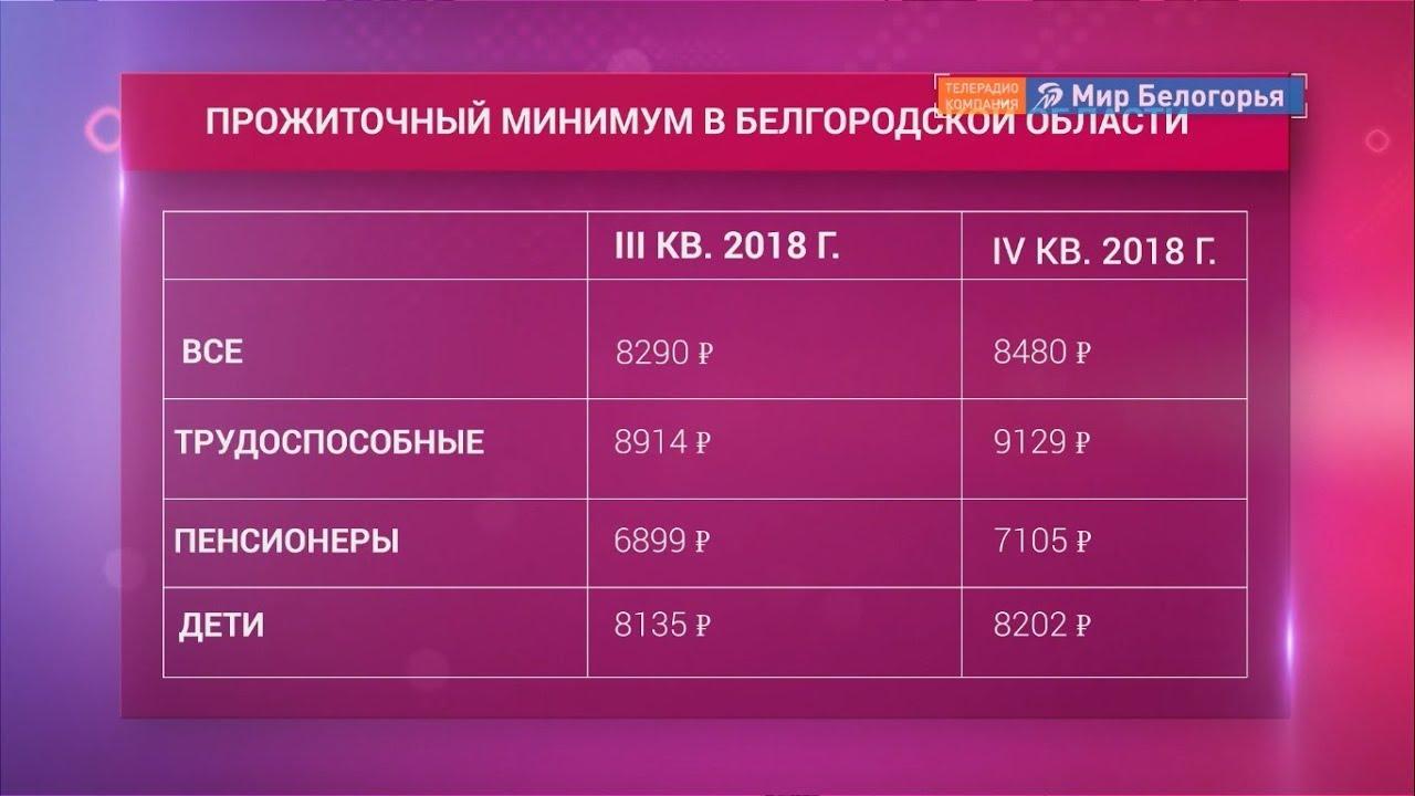 Какой прожиточный минимум в белгородской области