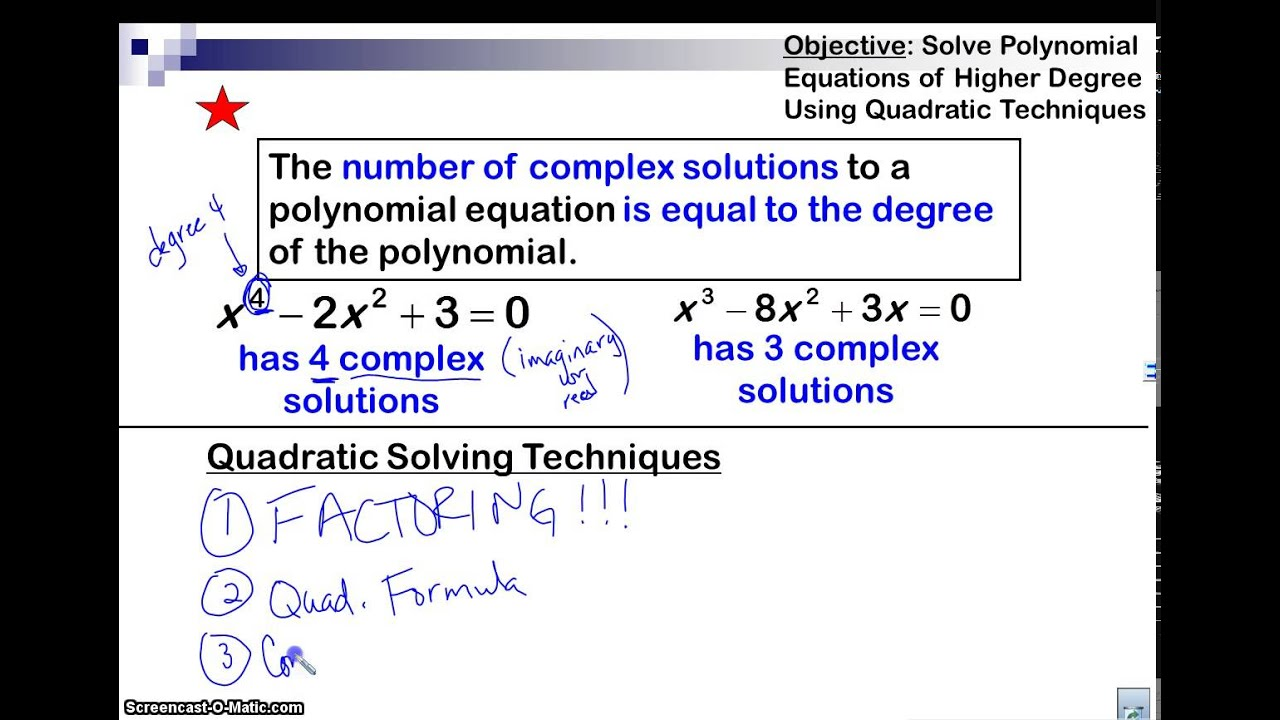 How To Solve A Polynomial Equation Of Degree 4