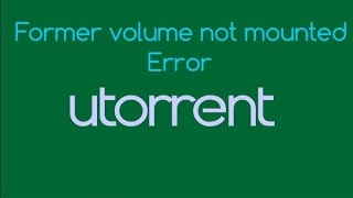 How to Fix Former volume not mounted error