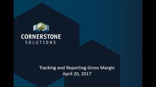 Increase Profitability by Tracking Gross Margins 4-20-17