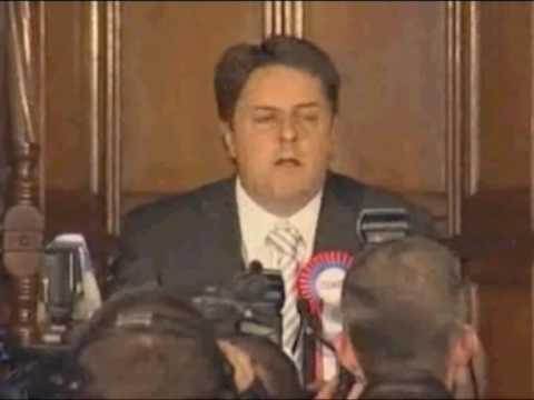British National Party wins 2 seats in EU.  Nick Griffin speaks after the victory.