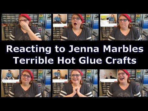 Reacting to Jenna Marbles Making Terrible Hot Glue Gun Crafts - 5 Minute Crafts