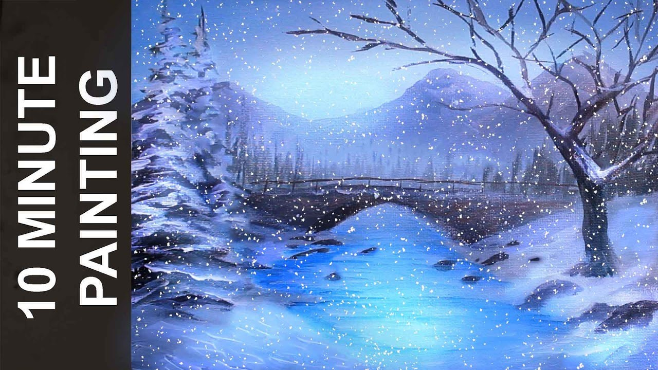 Painting a Winter Wonderland Landscape with Acrylics in 10 Minutes ...
