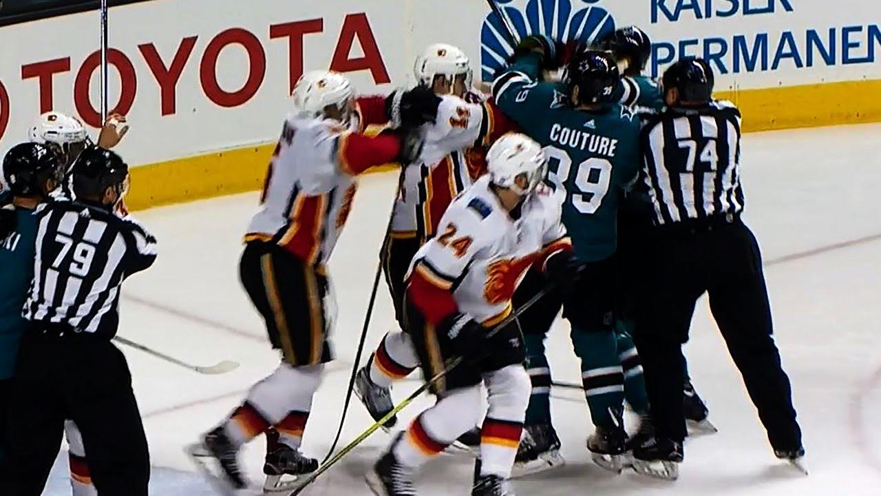 Sharks & Flames brawl after Kane bumps Rittich